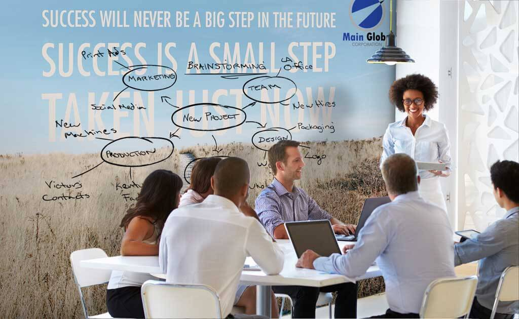 Motivational design zero ghosting writable wall covering
