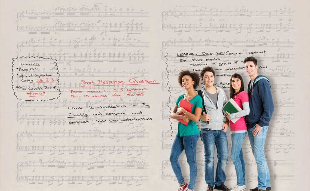 Image of educational design zero ghosting writable Music wall covering