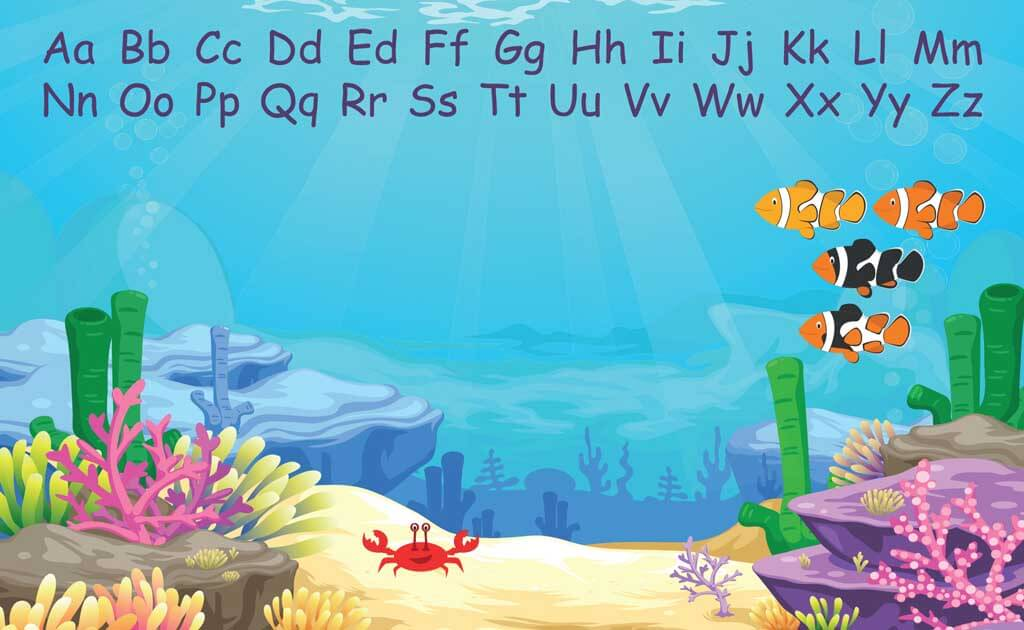 Image of educational design zero ghosting writable Underwater wall covering