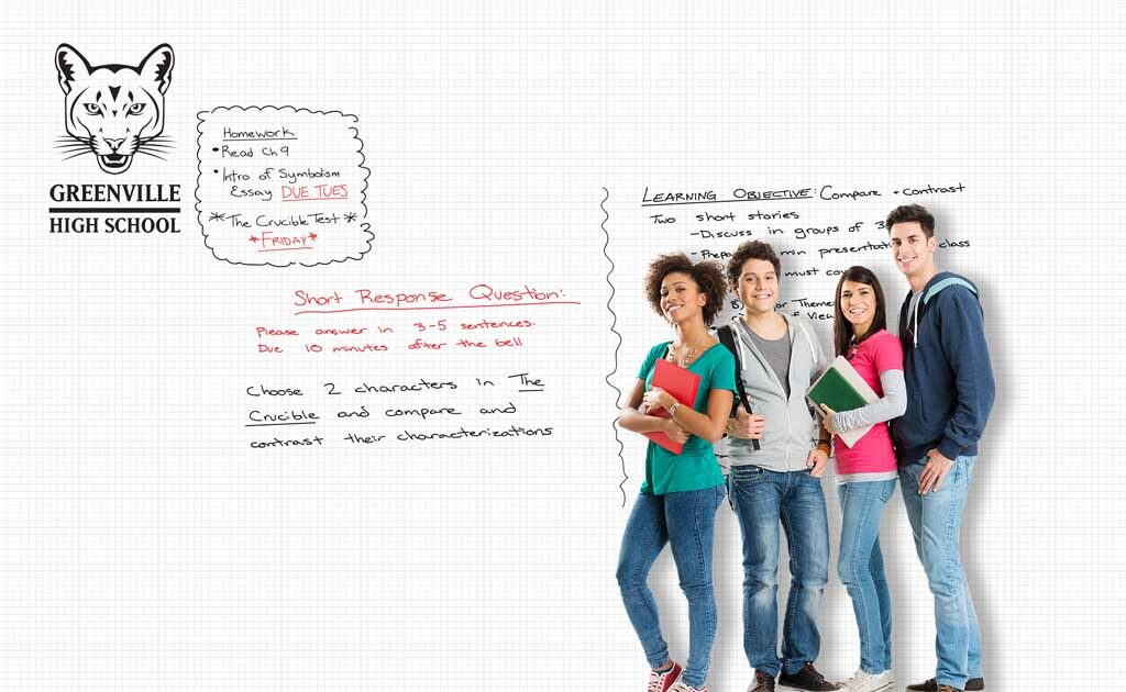 Image of educational design zero ghosting writable Math sheet wall covering